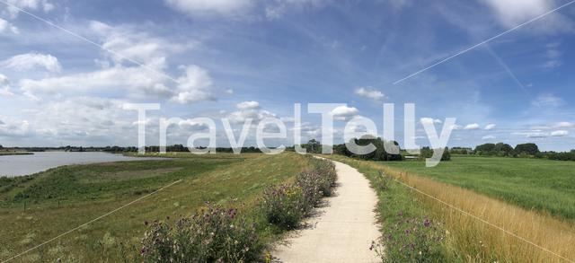 Panorama from a dike around Groessen in The Netherlands