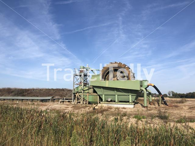 Sand extraction machine around Lobith in The Netherlands