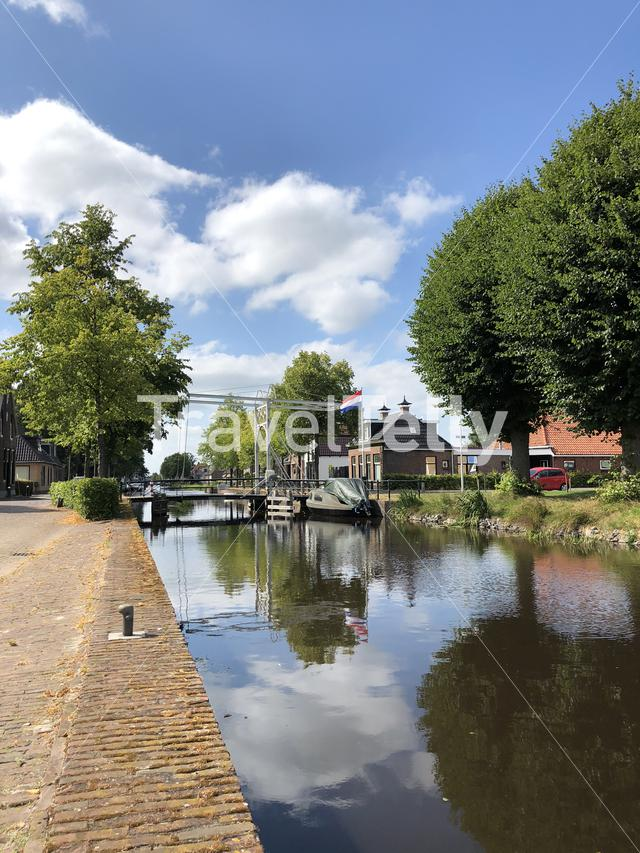 Canal and brigde of the turfroute in Gorredijk, Friesland The Netherlands
