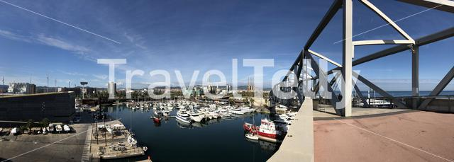 Panorama from a bridge over the Port Forum in Barcelona, Spain