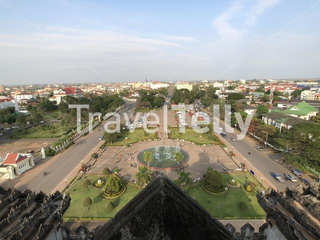 View from the Patuxay Monument in Vientiane, Laos