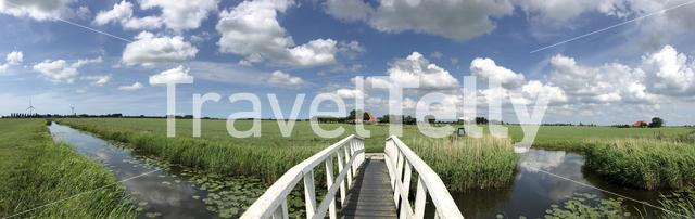 Panoramic landscape from around Easterein in Friesland The Netherlands