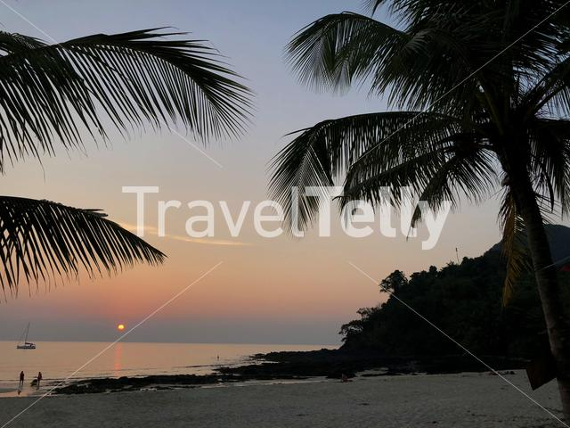 Sunset at Farang Beach in Koh Mook Thailand