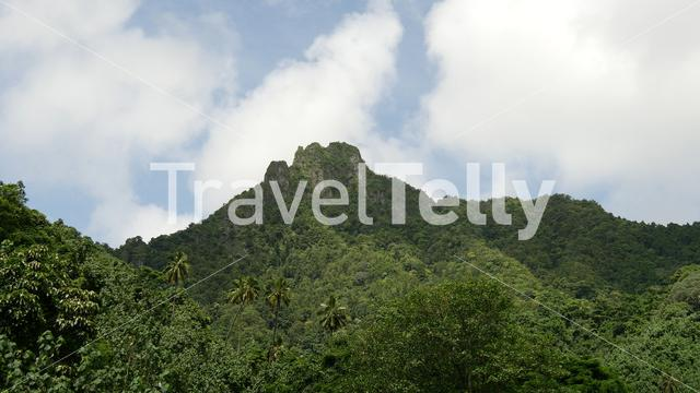 Vulcanic mountain range landscape at Rarotonga, Cook Islands
