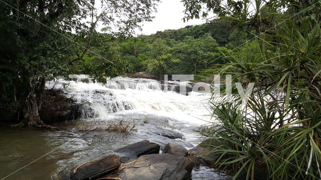 Stream around the Sala Falls in Guinea, Africa