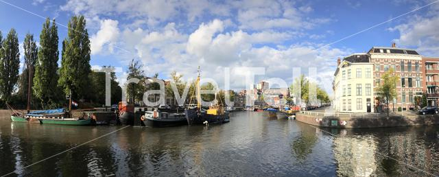Panorama from the Noorderhaven in Groningen The Netherlands