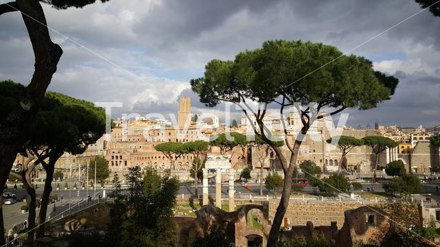 Looking over the city from the Cordonata view point in Rome Italy