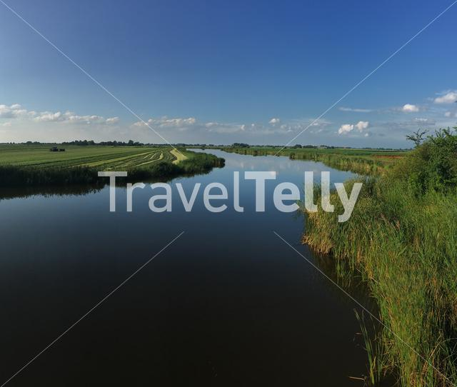 Lake with reflection in Friesland The Netherlands