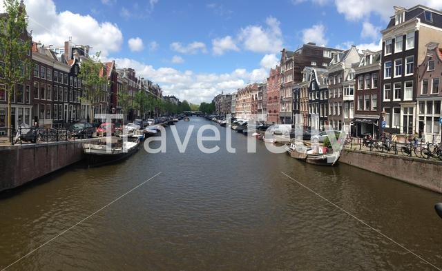 Panorama from the prinsengracht in Amsterdam Holland The Netherlands