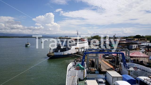 Arriving at the dock in Puntarenas from Paquera with the ferry in Costa Rica