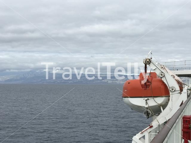 Rescue boat on a ferry towards Tenerife Canary Islands