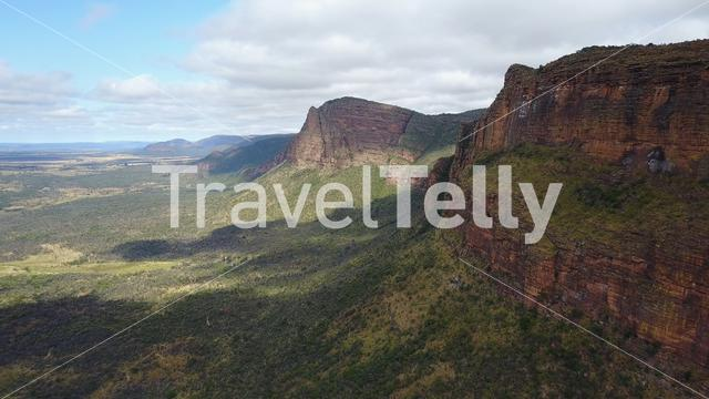 Aerial view from Waterberg mountain range landscape in South Africa