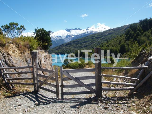 Fence with mountains at the background in Chile