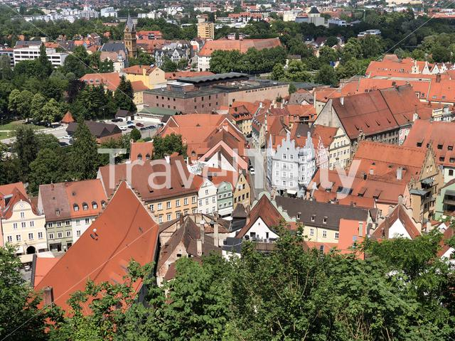Scenic city view from the Trausnitz Castle in Landshut Germany