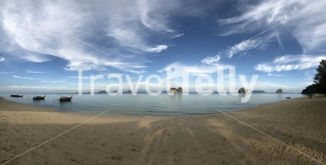 Panorama from the beach of Koh Ngai island in Thailand