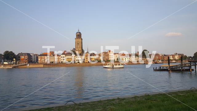 The IJssel river with Deventer and Lebuïnuskerk The Netherlands