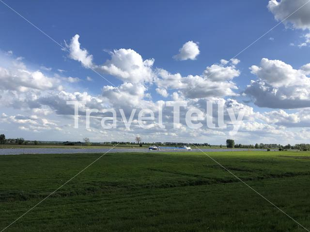 Cargo ship on the IJssel river in The Netherlands