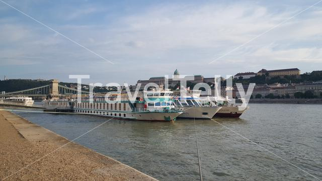 Cruise ships at the danube river in Budapest Hungary