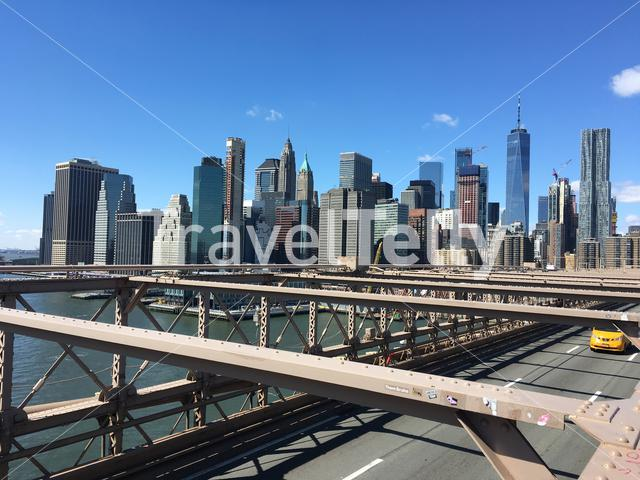 The skyline of Lower Manhattan as seen from Brooklyn Bridge in New York City.