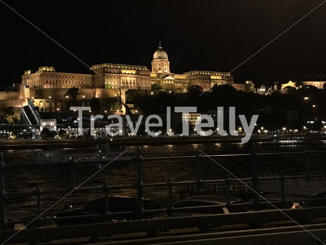 Buda Castle at night in Budapest Hungary