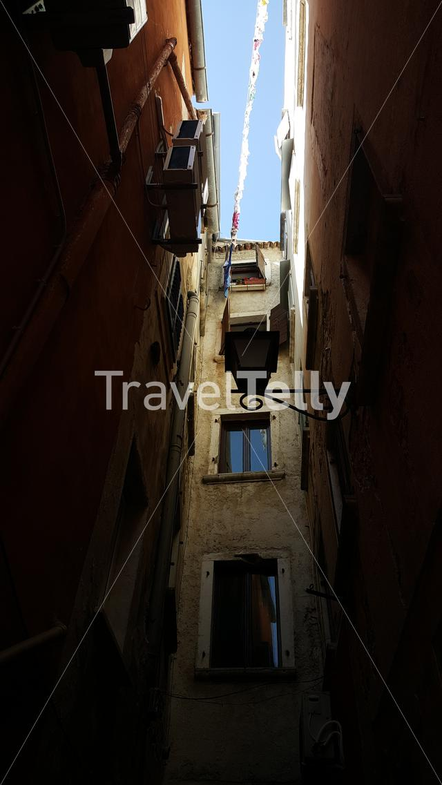 small alley in old town of Rovinj, Croatia