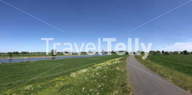 Panorama from the river IJssel towards Doesburg in Gelderland The Netherlands