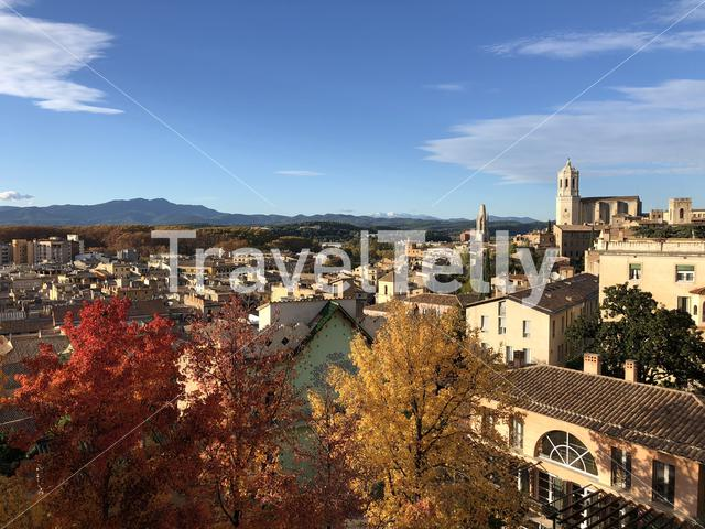 Autumn colors in old town of Girona Spain