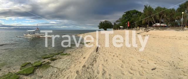 Panorama from the beach of Balicasag Island in Bohol the Philippines