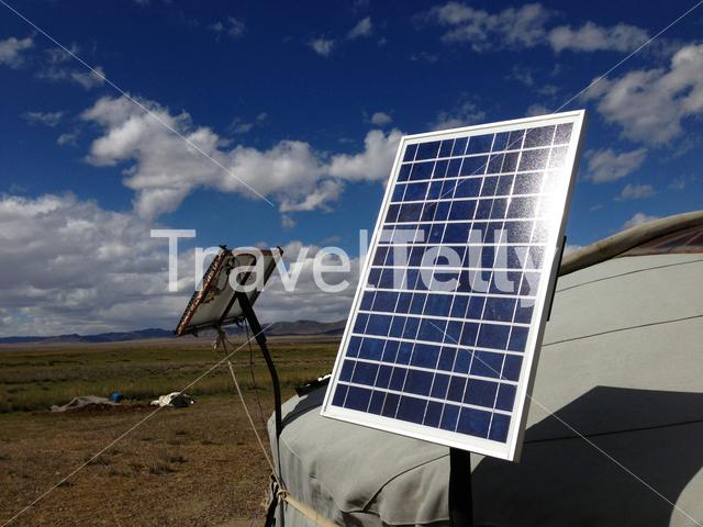 Solar panel at a traditional yurt in Mongolia