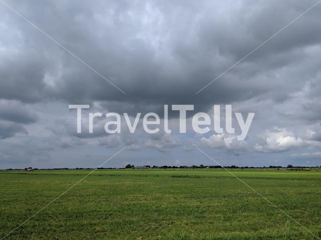 Cloudy Frisia landscape in The Netherlands