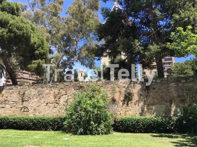 The wall of the riverbed at the Turia Gardens in Valencia Spain
