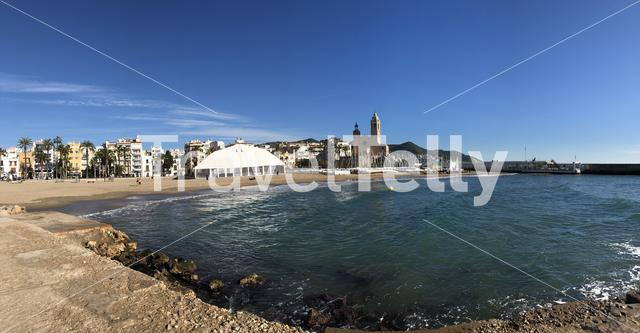 Panorama from beach de la Fragata in Sitges Spain