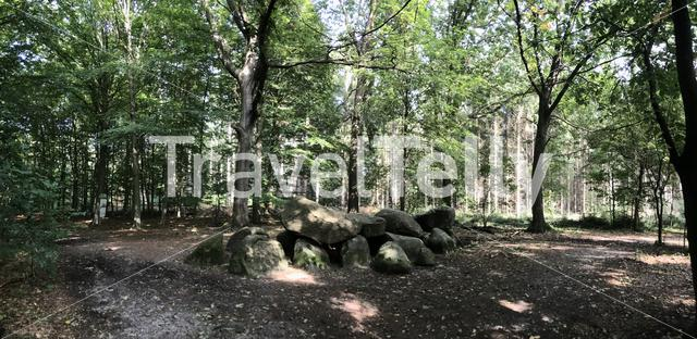 Panorama from an old stone grave dolmen in Drenthe Netherlands