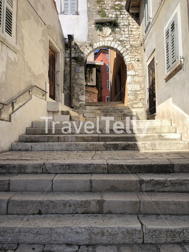 Stairs in the old town of Rovinj Croatia