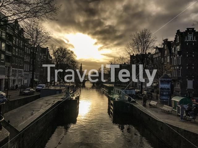 Sunset at Korte Prinsengracht in Amsterdam The Netherlands