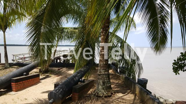 Canons at the shore in Nieuw Amsterdam Suriname