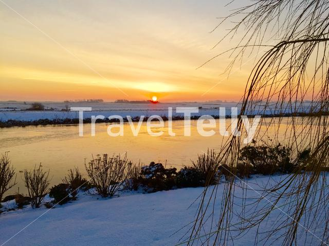Winter sunrise in Sneek, Friesland The Netherlands
