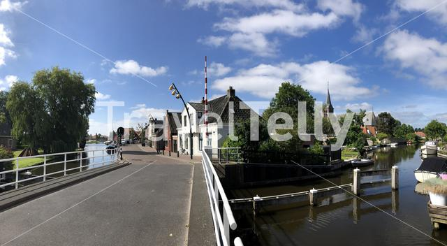 Panorama from a canal in Heeg, Friesland, The Netherlands