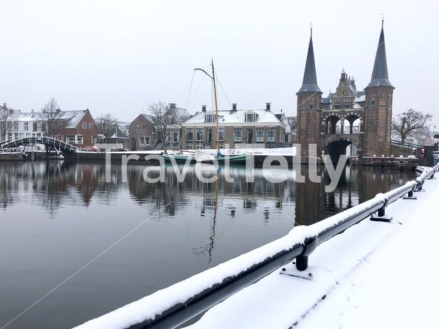 The Watergate during winter in Sneek, The Netherlands