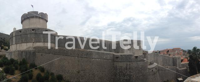 Panorama from the Walls of Dubrovnik with sight on Minčeta Tower in Croatia