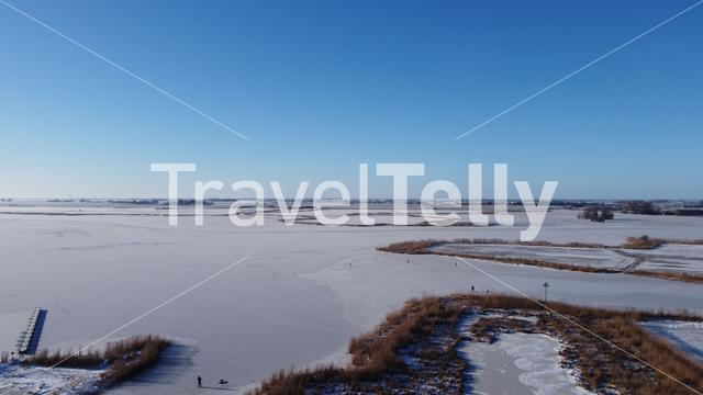 Frozen lake around Sneek in Friesland The Netherlands