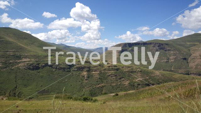 Mountain range scenery around Rakotoane in Lesotho