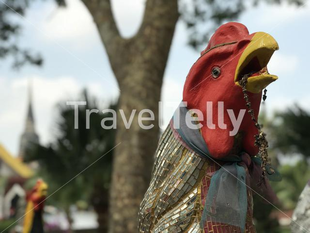 Rooster Statue at Wat Yai Chai Mongkhon a Buddhist temple in Ayutthaya, Thailand