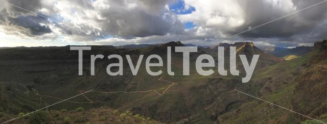 Landscape panorama from the Degollada de las Yeguas lookout point in south Gran Canaria