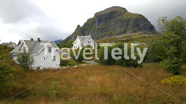 White houses in the village A in Norway