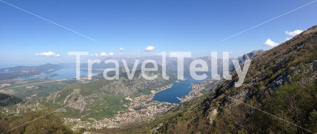Lookout panorama over from Kotor bay Montenegro