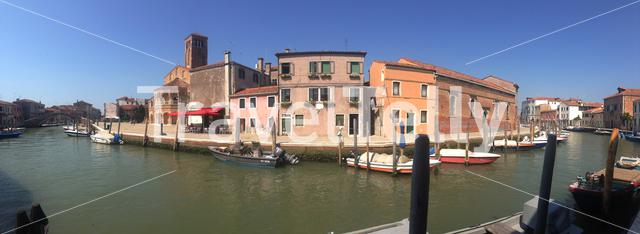 Panorama from a canal in Murano Venezia, Italy