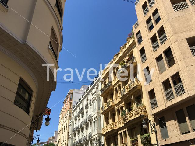 Buildings in the street of Valencia in Spain