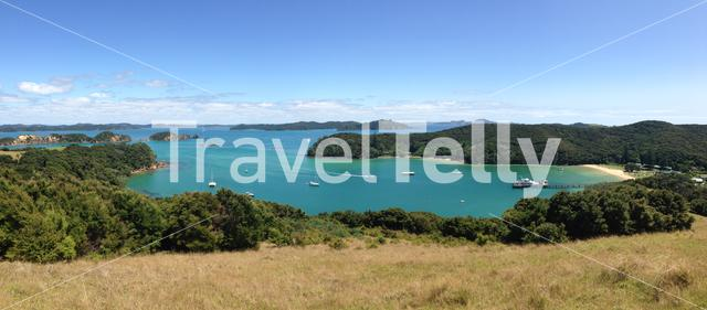 Panorama from Urupukapuka Island the largest island in the Bay of Islands of New Zealand