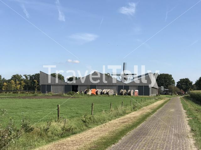 Farm with an old windmill in Noordlaren The Netherlands